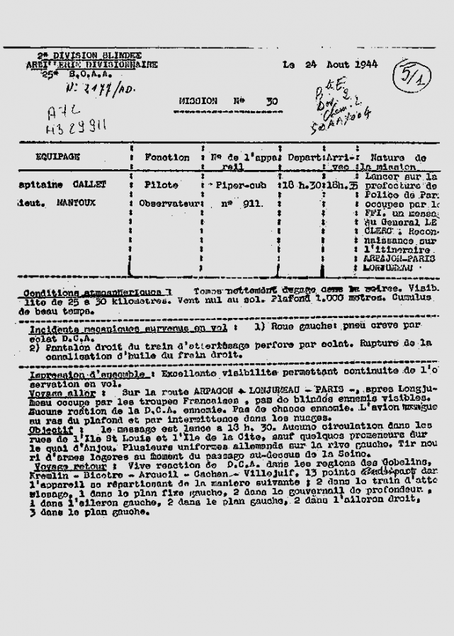 Ordre de mission 25 aout 1944 1ere partie